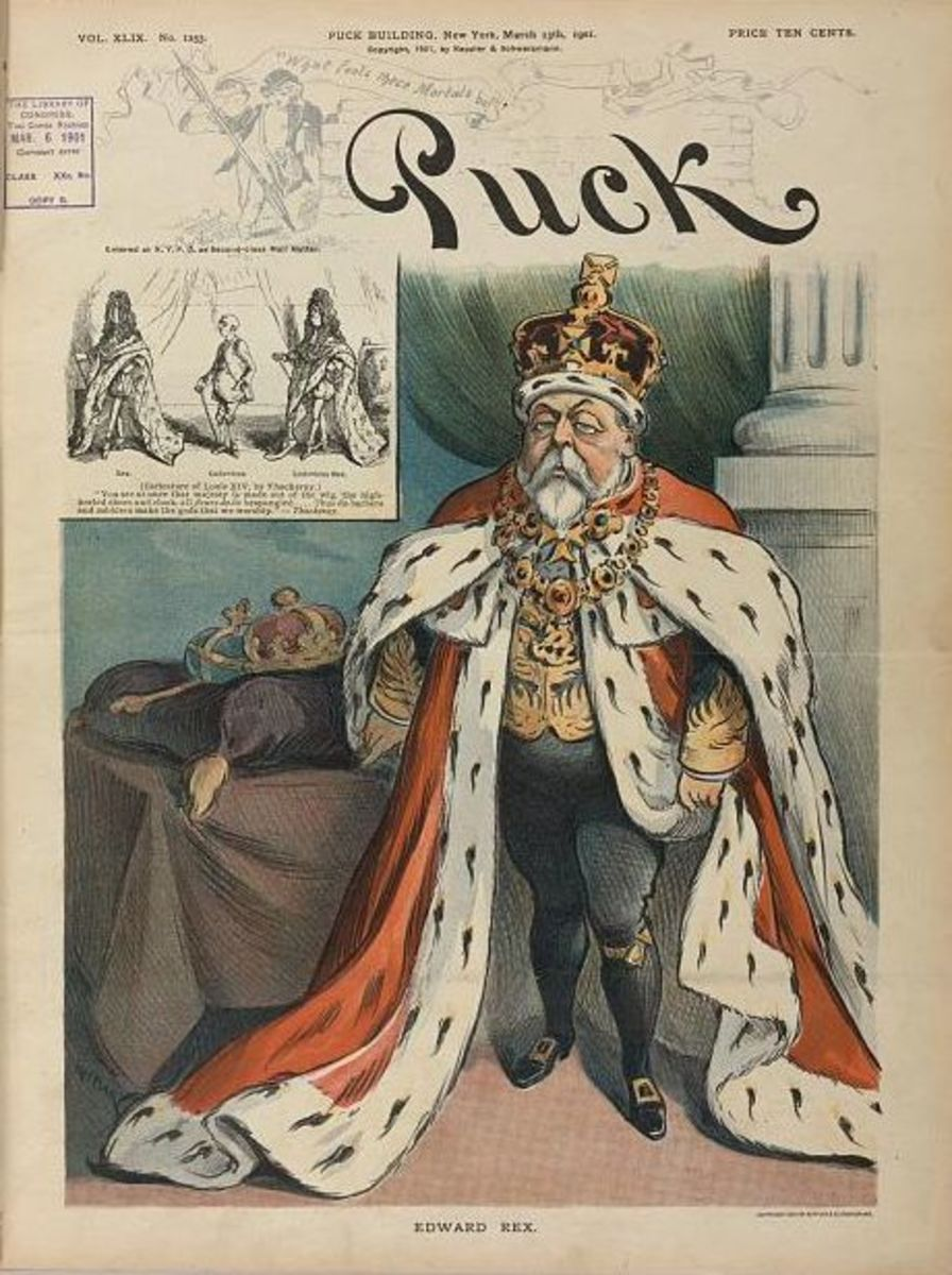 The satirical magazine Punch did not seek to conceal Edward's bulging waist nor his dissipated look.