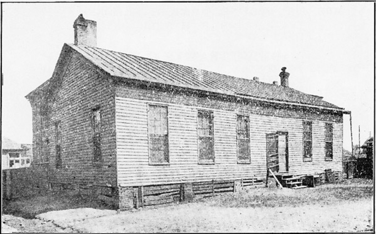 The first Clay Street School.  Wells may have taught in a school identical to this one.  It was soon replaced with a much nicer, brick school.