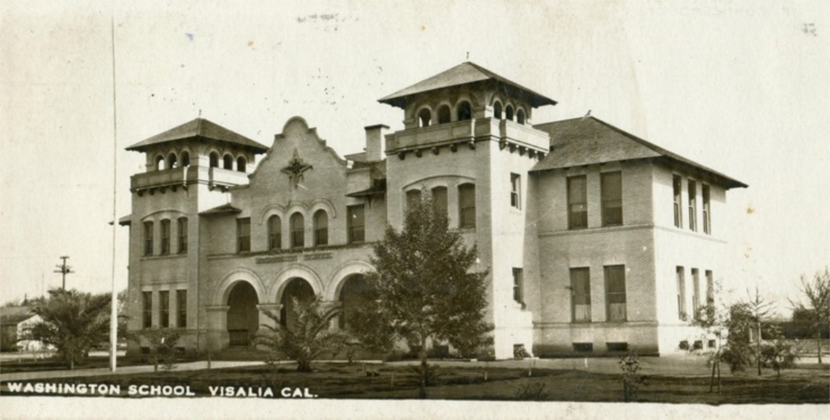 "The Washington School in Visalia, California.  This may have been the ""church on the hill"" Wells was talking about in her memoir."