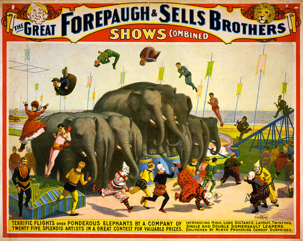 Promotional poster for Forepaugh & Sells Brothers circus – circa 1899