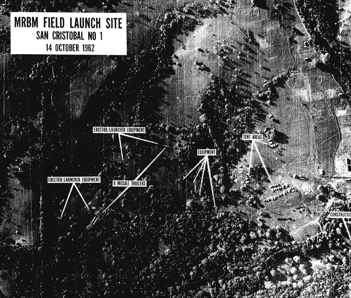 One of the first images of missile bases under construction shown to President Kennedy on the morning of October 16.