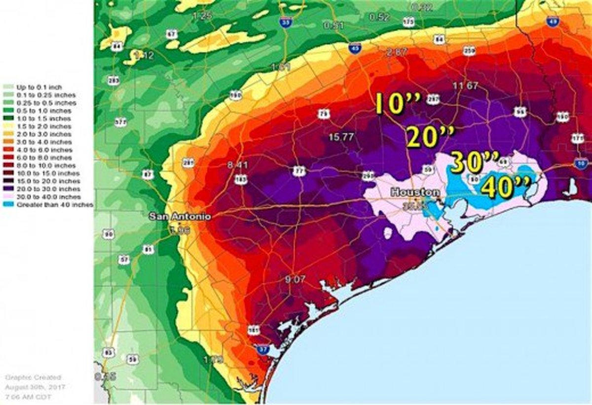 Houston and the surrounding areas received three and four feet of rain before the hurricane moved to the northeast.