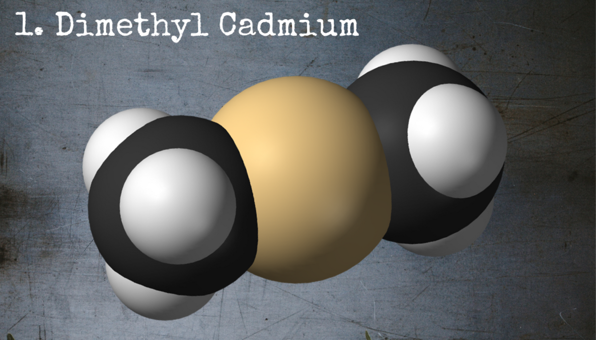 This innocent-looking little molecule, dimethyl cadmium, is arguably the most dangerous chemical in the world.