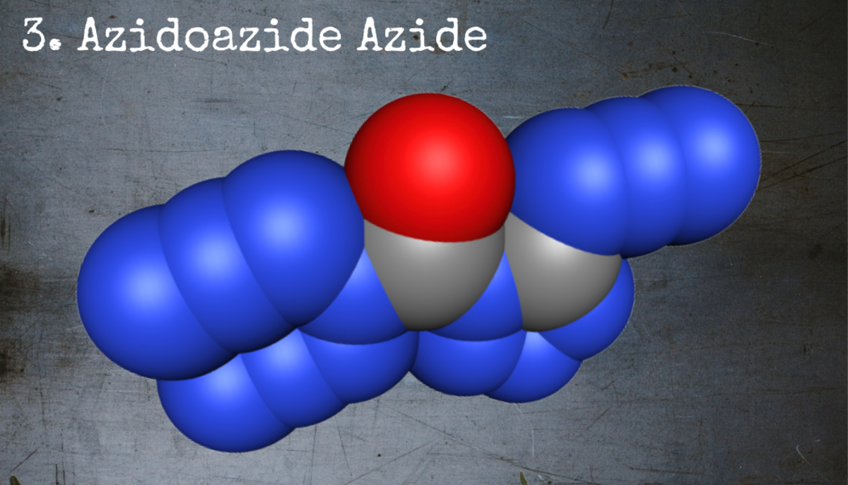 Largely due to the high-energy arrangement of its constituent atoms, azidoazide azide is an extremely volatile explosive.