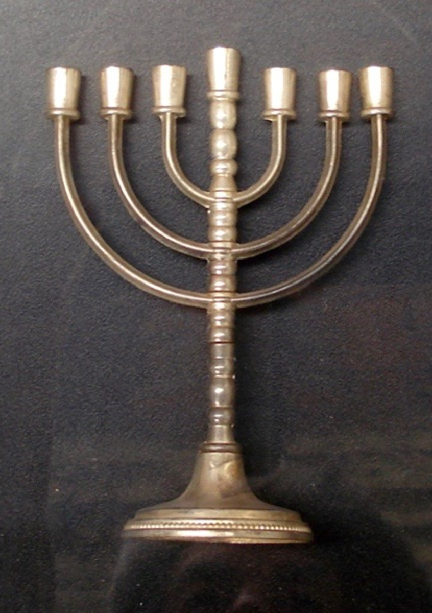 A Hebrew menorah. The candles are lit at the festival of Hanukkah.