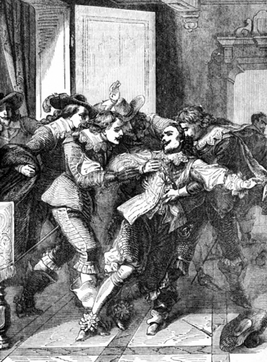 The confusing scene as Buckingham is stabbed by Felton, Felton can be seen darting into the kitchen