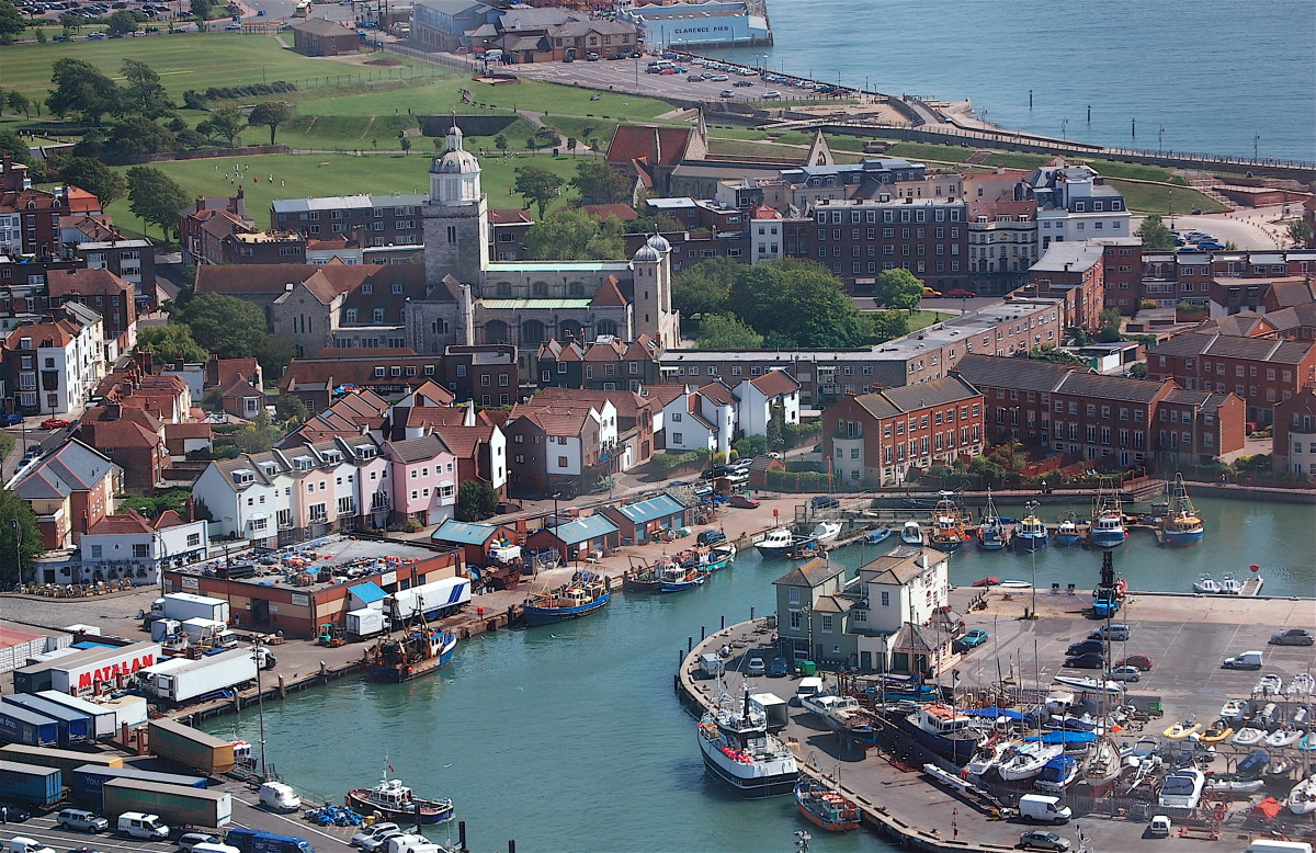 Modern view of Portsmouth, England. The town in the 1620s would have occupied the same space.
