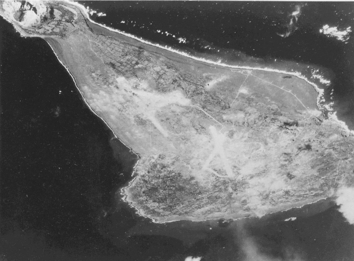 Aerial view of Iwo Jima.