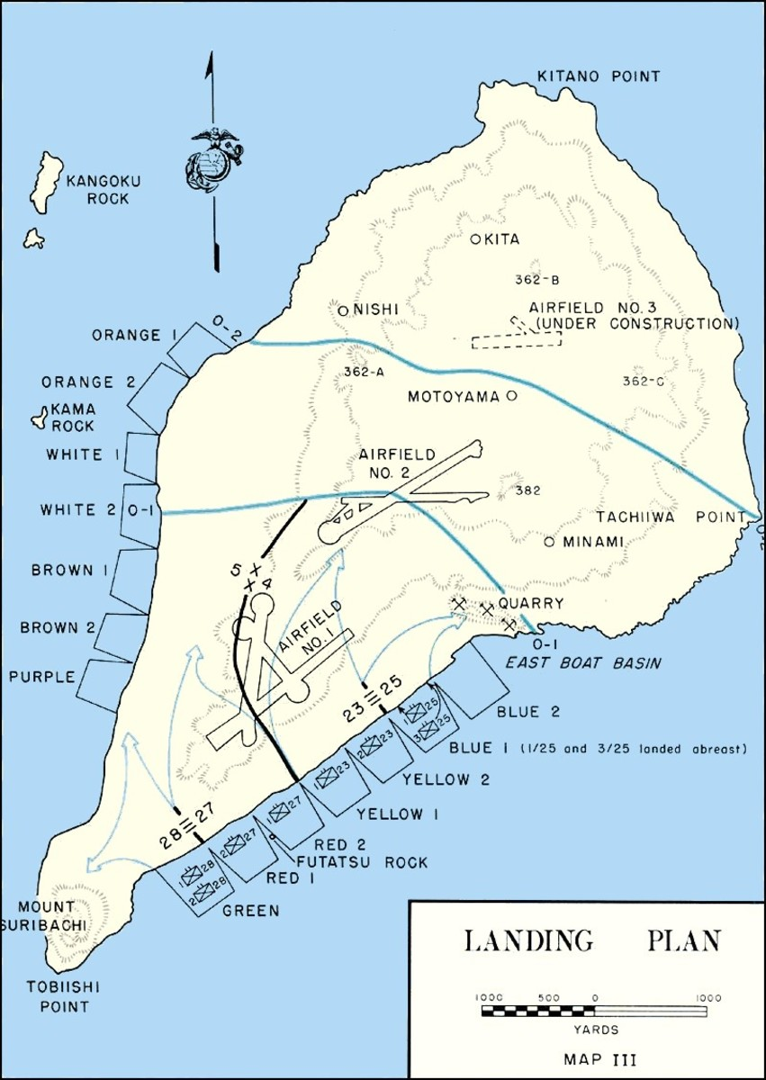 American plans for the invasion of Iwo Jima.