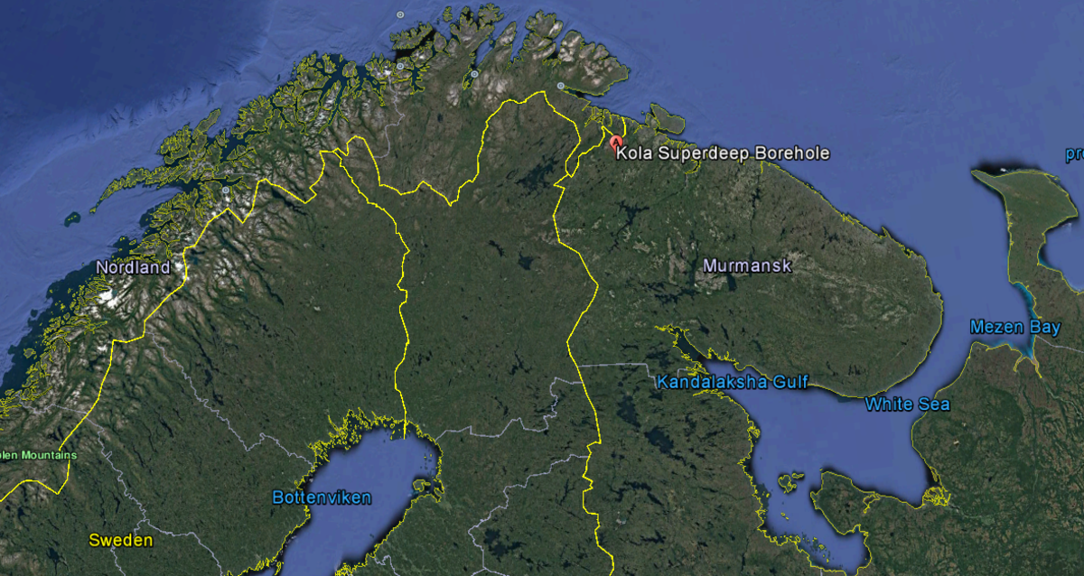 Russia's Kola Peninsula: Norway lies to the North-West, and to the South-West is Finland