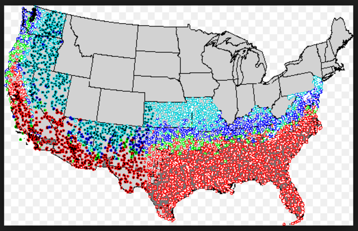 Distribution of fire ants in the USA