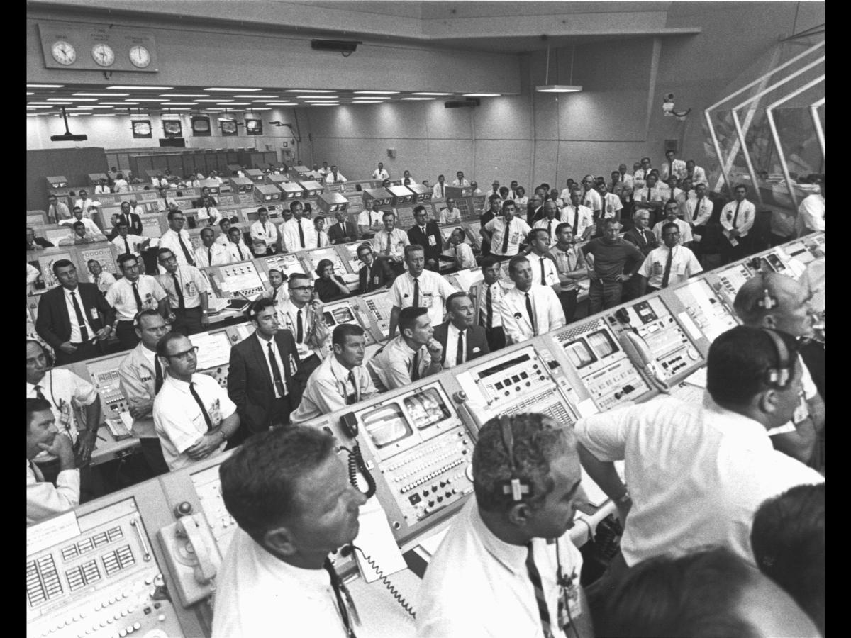Houston Control at Apollo 11 liftoff.