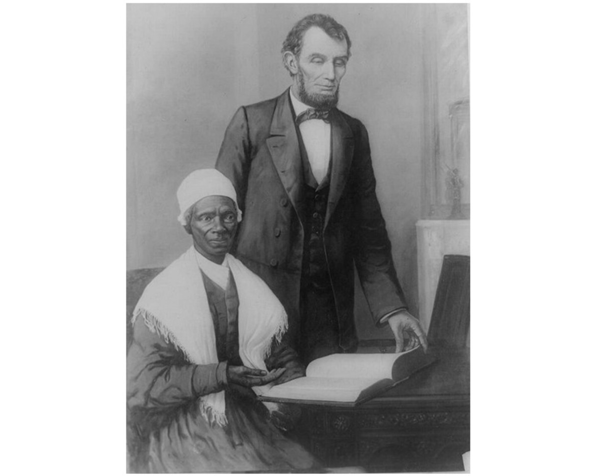"""A. Lincoln showing Sojourner Truth the Bible presented by colored people of Baltimore, Executive Mansion, Washington, D.C., Oct. 29, 1864"""
