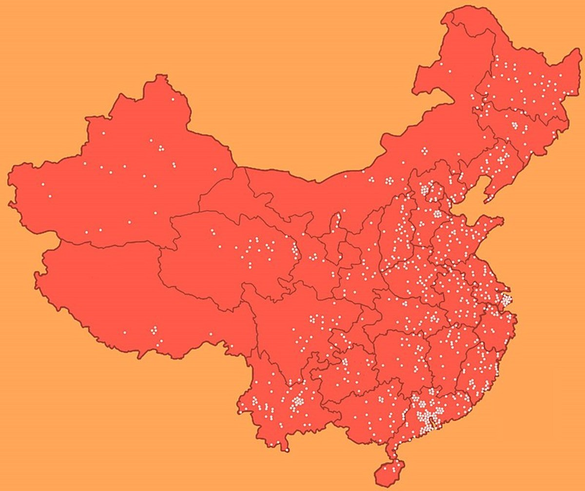 Each dot represents the location of a laogai facility.