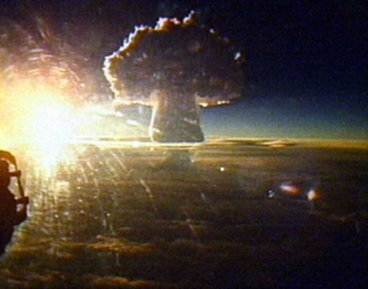 Tsar Bomba. Notice the size of the mushroom cloud as it rises into the Earth's atmosphere.