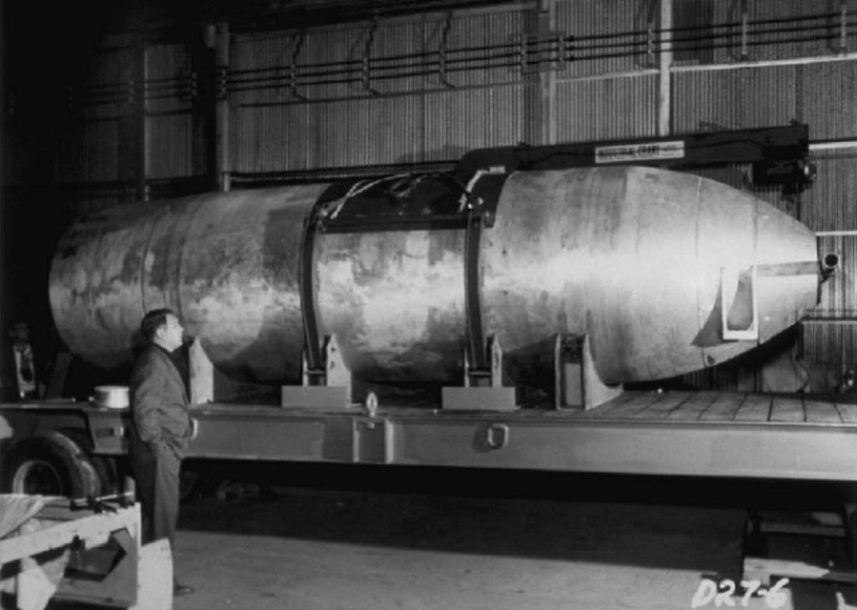 Mk-16 Nuclear Bomb (Mark 16). Notice the bomb's tremendous size in this photograph.