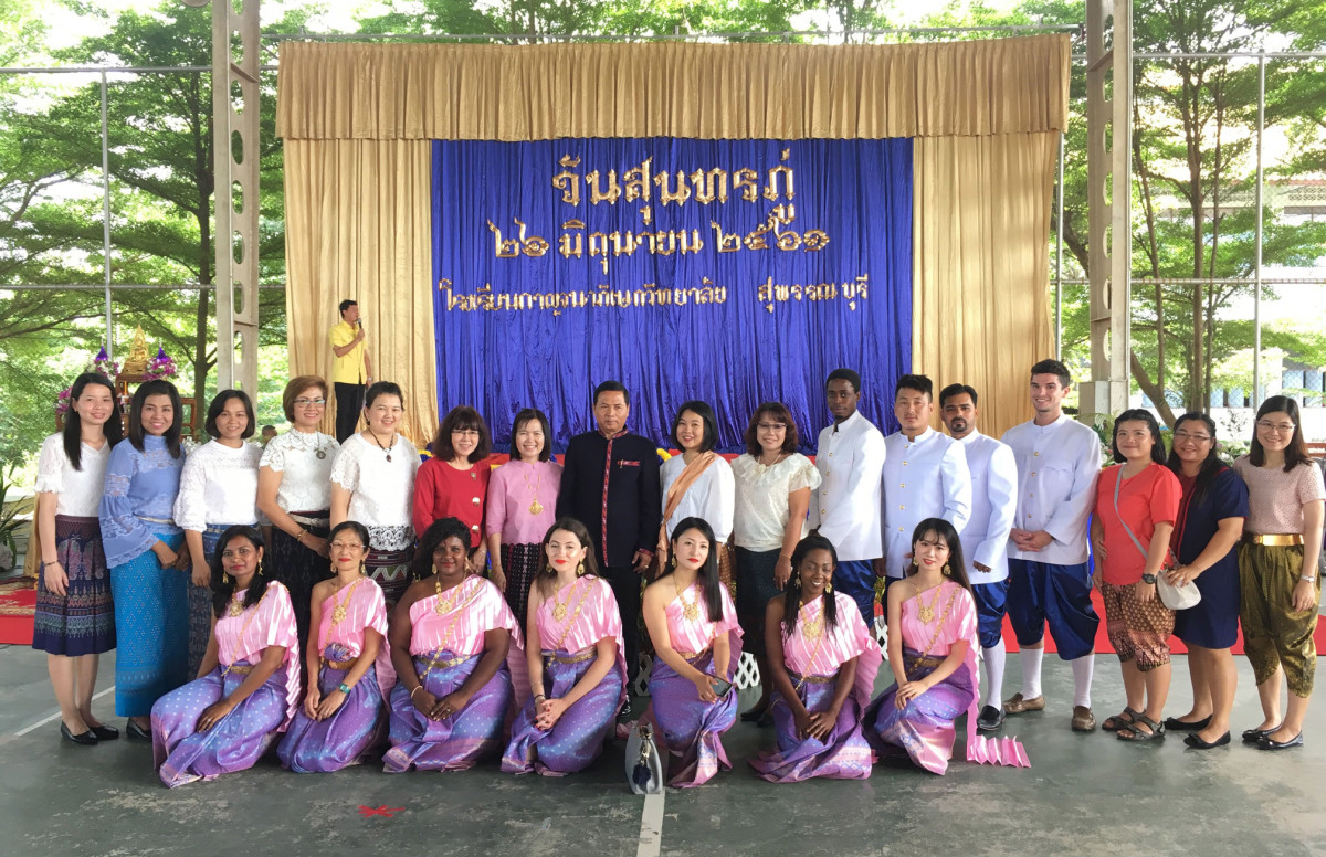 Foreign teachers dress culturally in celebration of Thai festivals.
