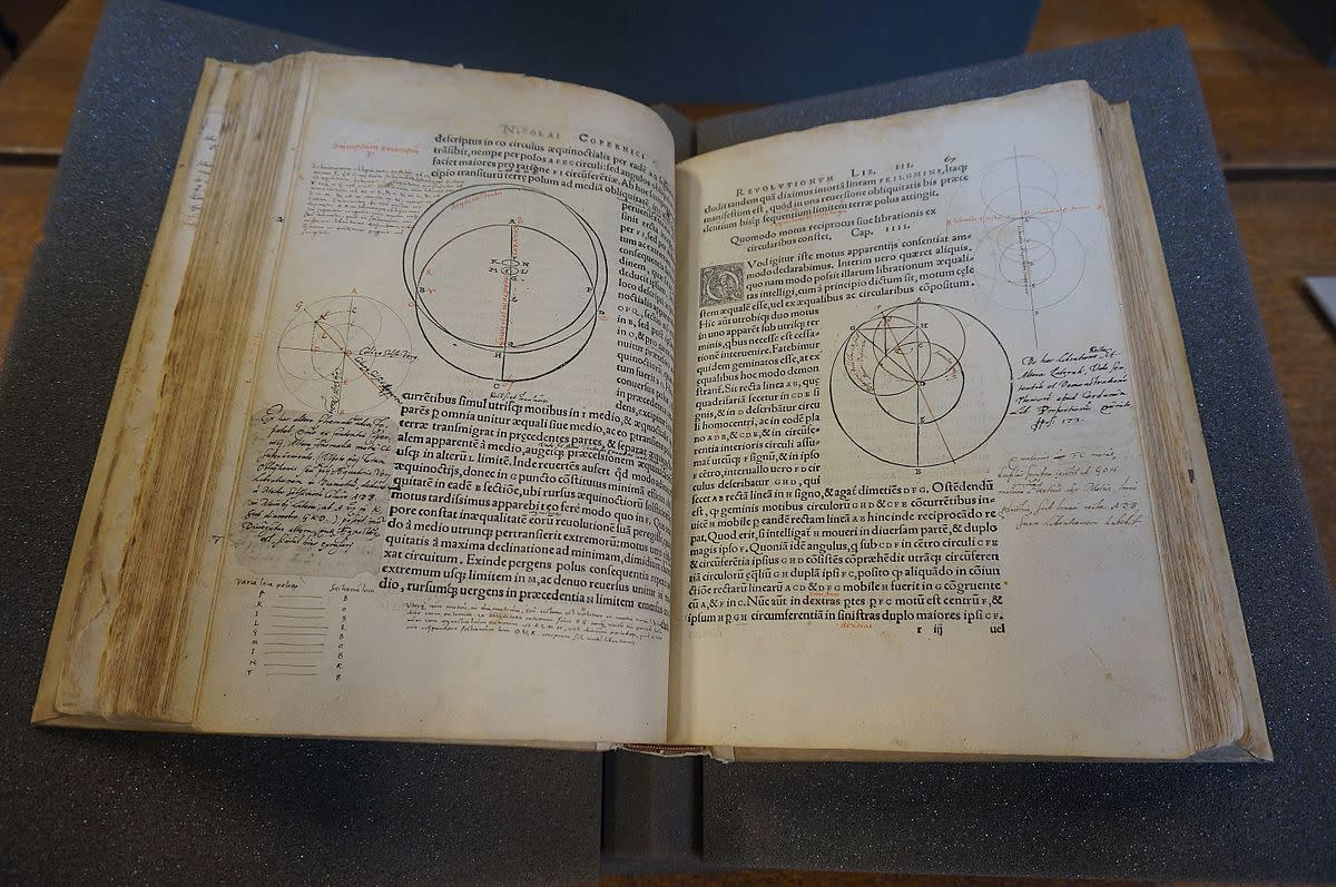 Copernicus's great work, On the Revolutions of the Heavenly Spheres.