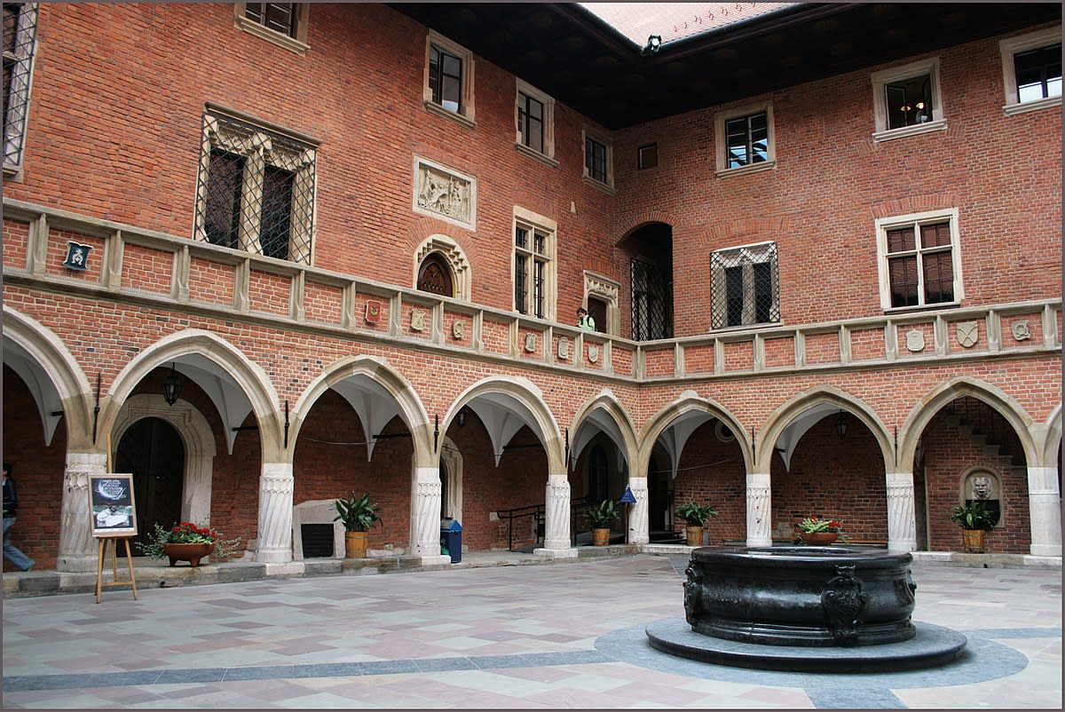 "Courtyard of the Collegium Maius (Latin for ""Great College"") dating back to the 14th century at the Jagiellonian University in the historic part of Cracow, Poland."