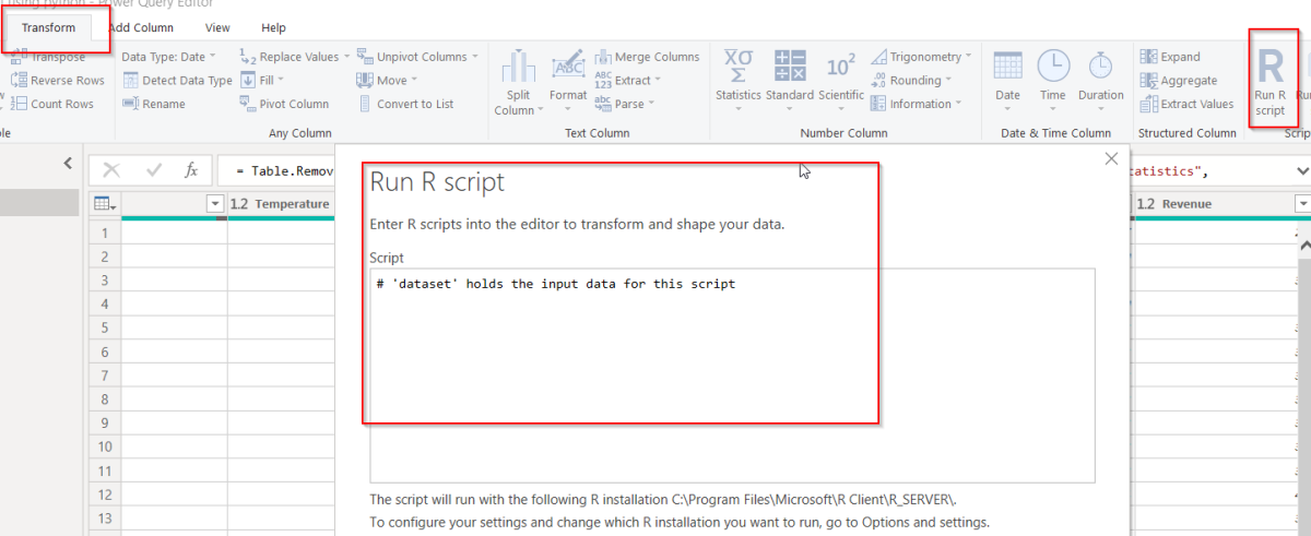 R script editor in Power BI