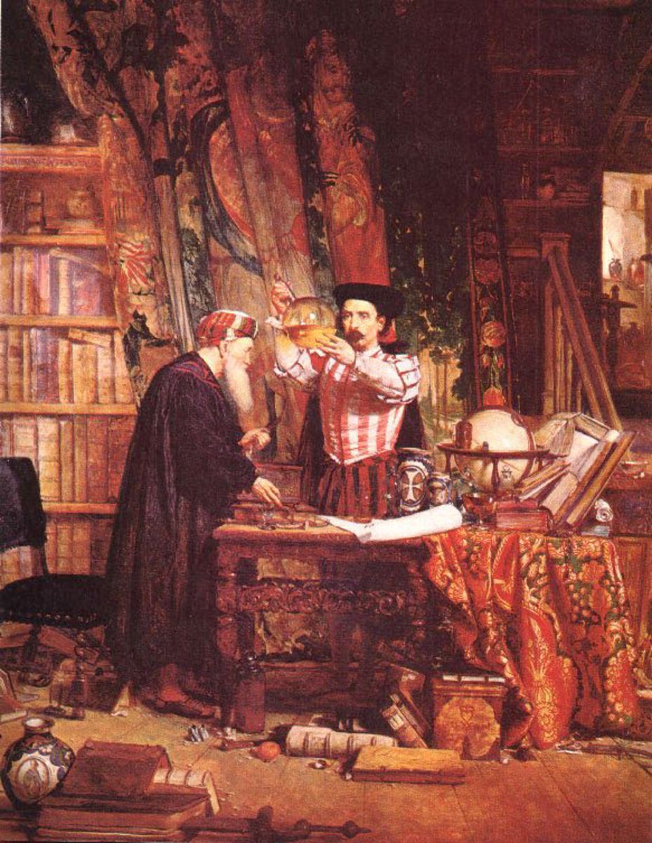"Painting ""The Alchemist"" by Sir William Fettes Douglas."