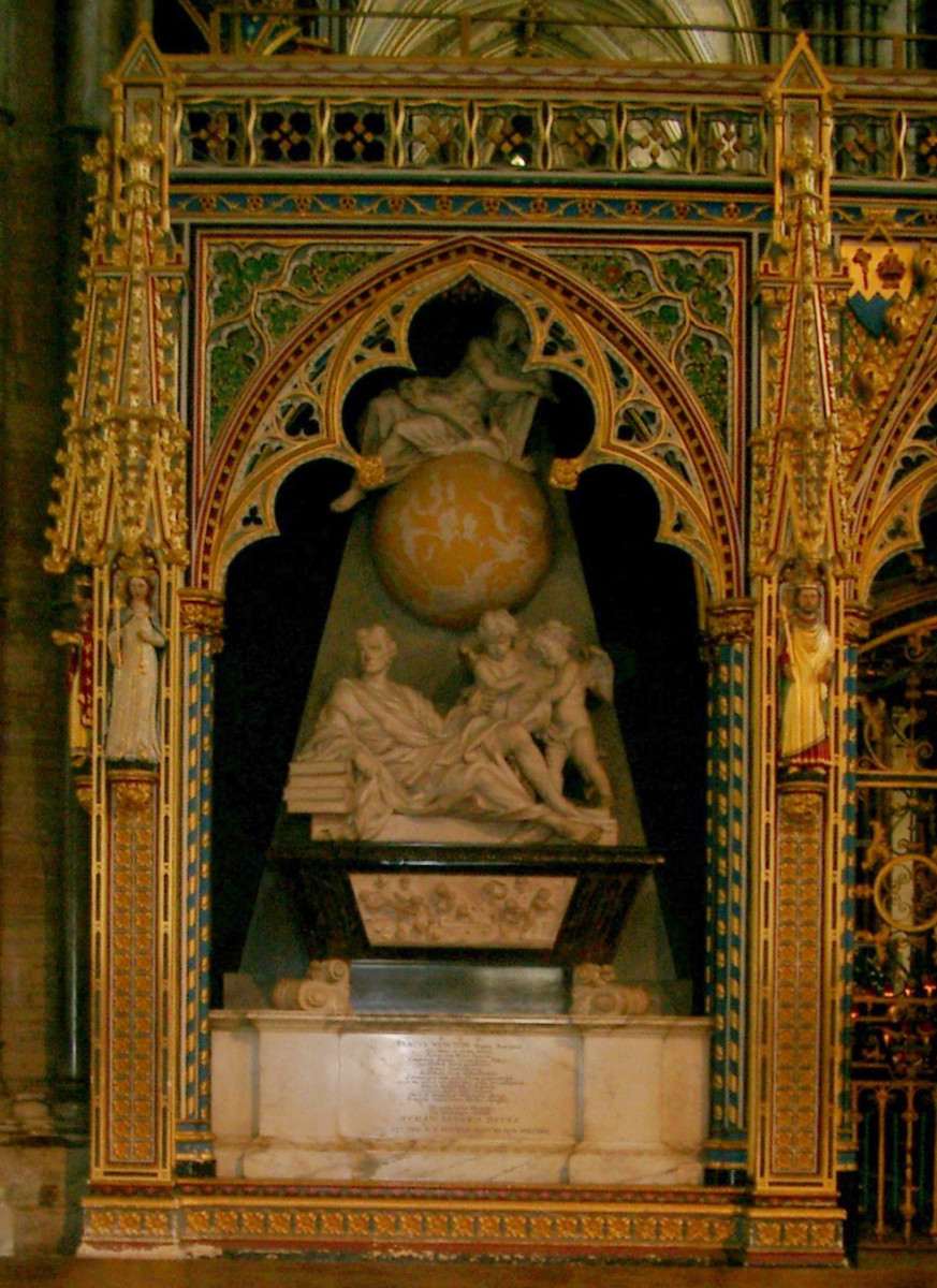 Newton's burial crypt at Westminster Abbey