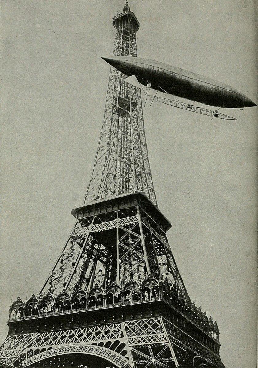 Santos-Dumont circles the Eiffel Tower,