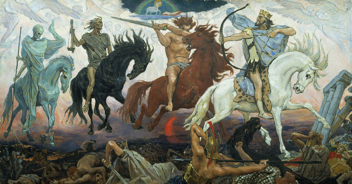 The Four Horsemen of the Apocalypse are described in the last book of the New Testament of the Bible, called the Book of Revelation of Jesus Christ to John of Patmos, at 6:1-8. The chapter tells of a book or scroll in God's right hand that is sealed