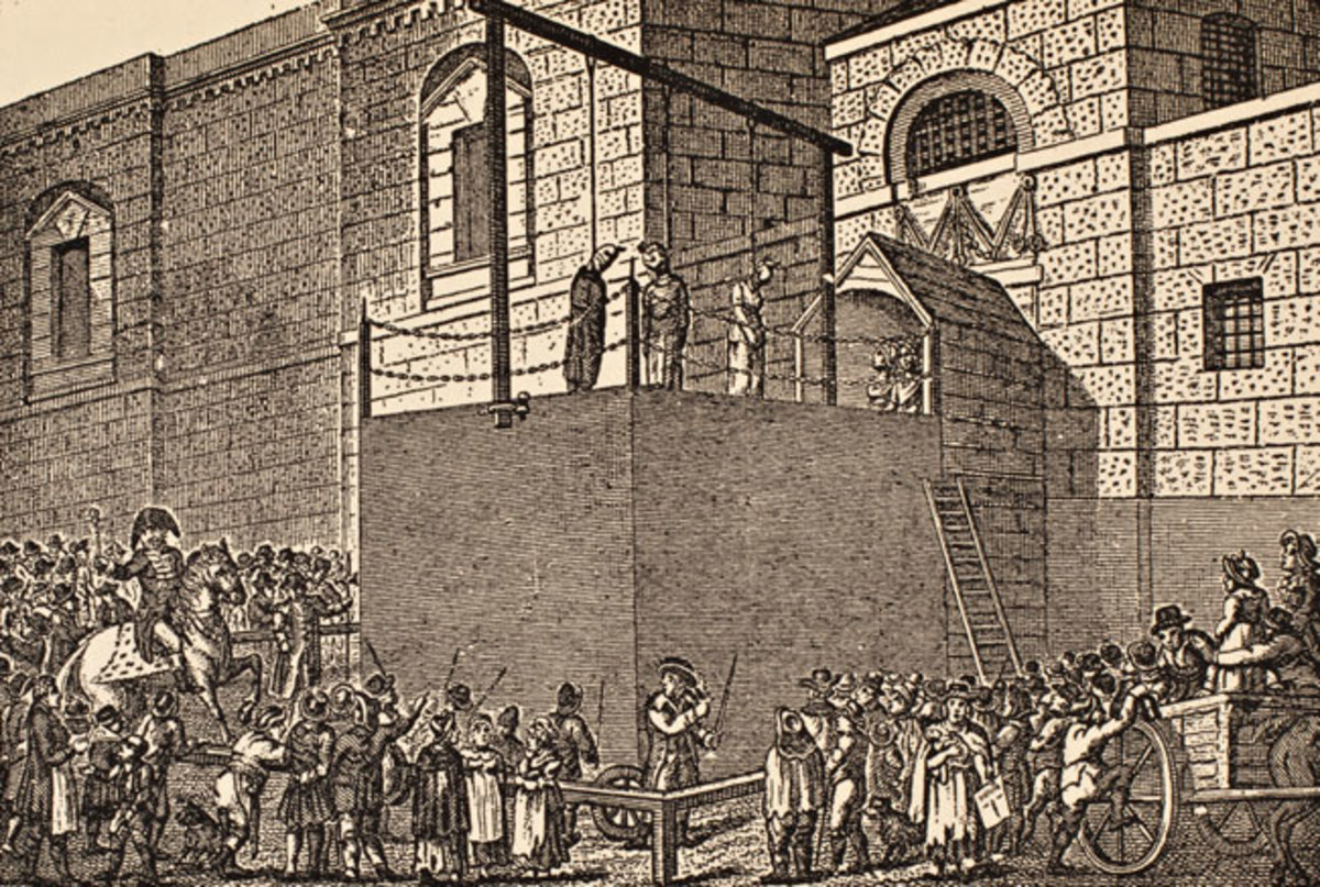 A prisoner is executed outside Newgate Prison in the early 19th century.