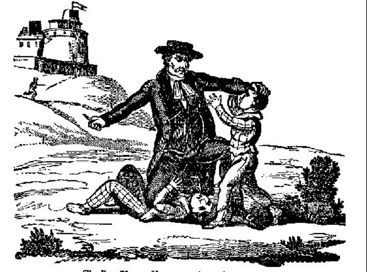 Reverend Thomas Hunter is depicted killing a couple of his child victims. He was executed in August 1700.