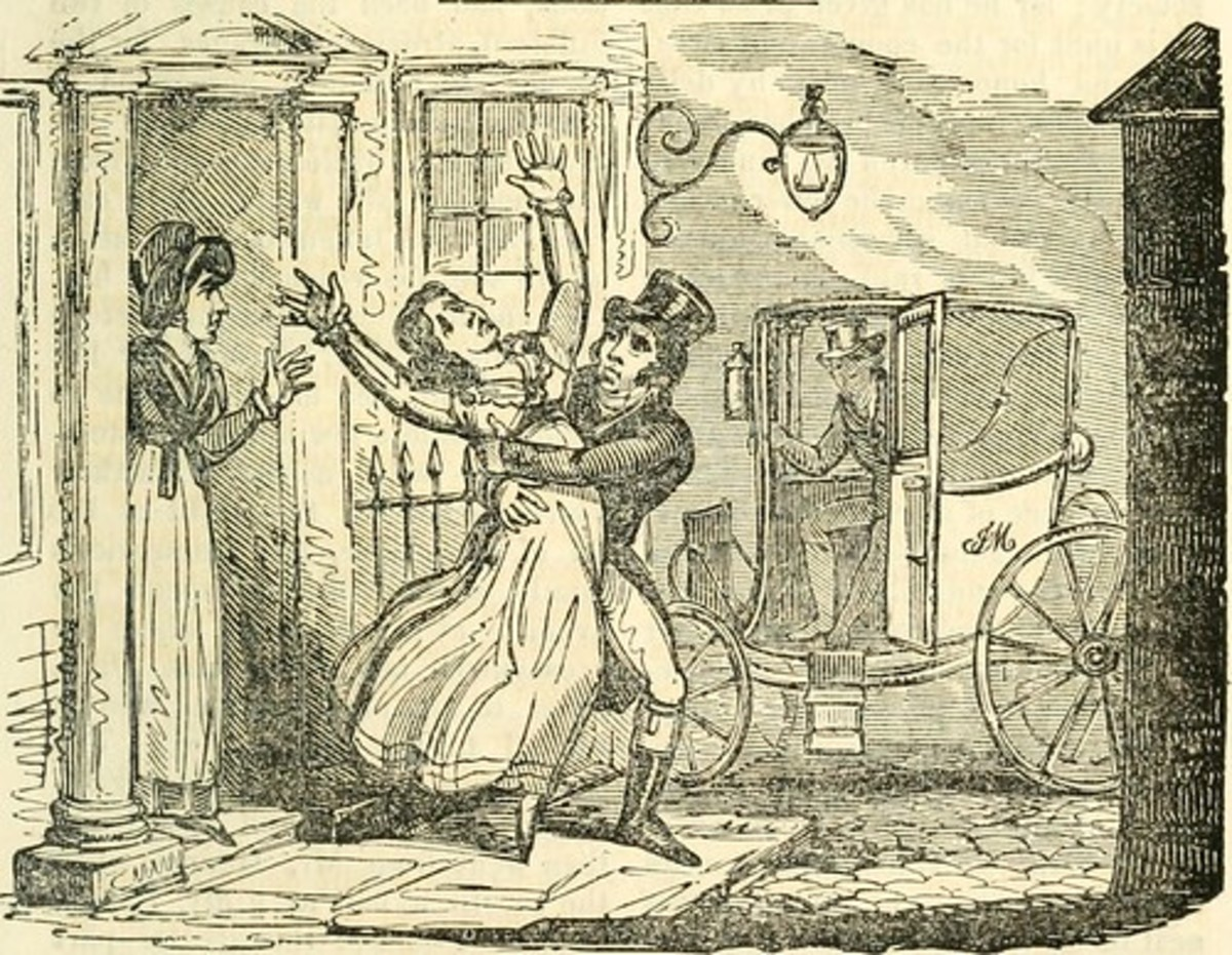 An illustration from the Calendar shows one Samuel Dick abducting Elizabeth Crockatt a crime for which he was executed.