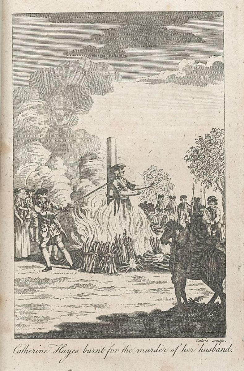 The execution of Catherine Hayes, although in this image the executioner is shown strangling the woman with a rope.