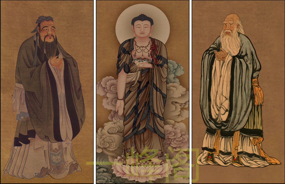 Portraits of Confucius, Buddha, and Laozi, author unknown