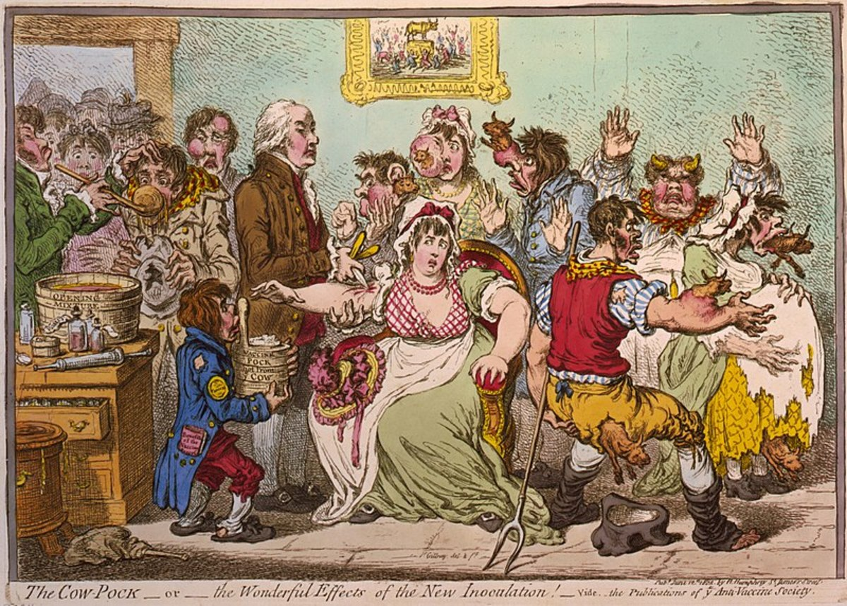Satirist James Gilray ridicules vaccination by showing cow parts sprouting out of human bodies.