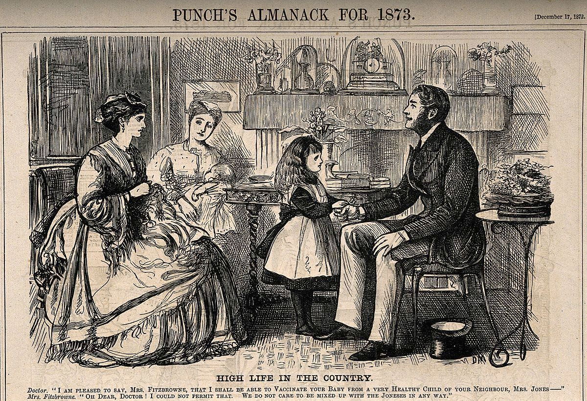 """The doctor extols the virtue of vaccinations he has given to the Jones family. The lady of the house retorts that """"We do not care to be mixed up with the Joneses in any way."""""""