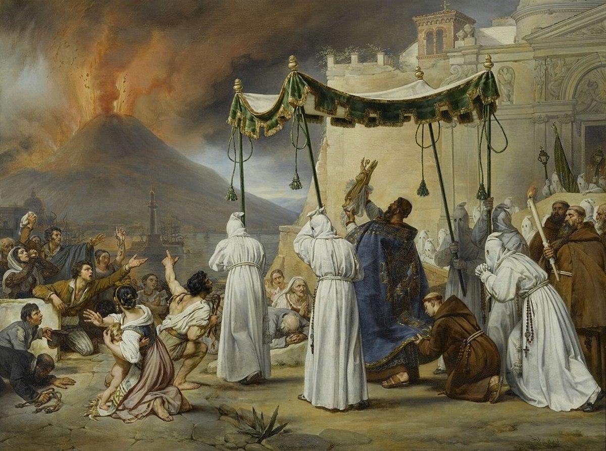 Procession of Saint Janvier during a Vesuvius eruption  in 1822