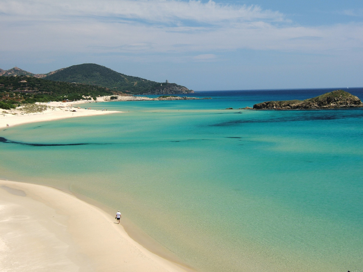 Tuaredda beach at Sardinia, Italy shows what the Mediterranean looks like on a calm day