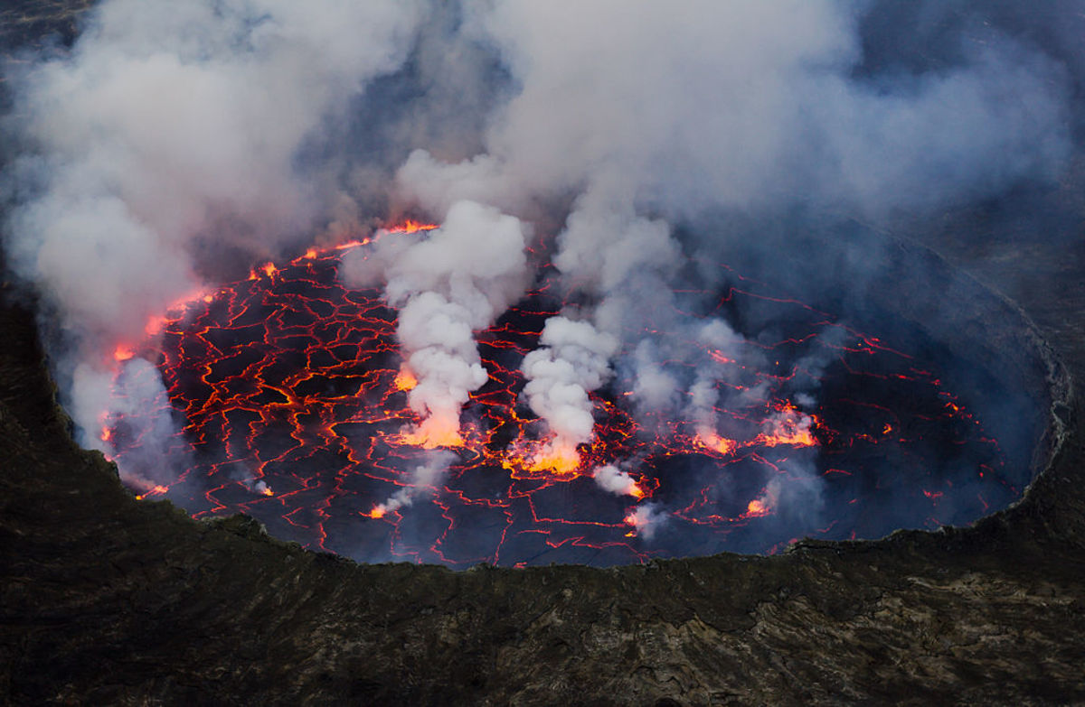 Mount Nyiragonga in the Congo is known for its large lava lake at the summit.