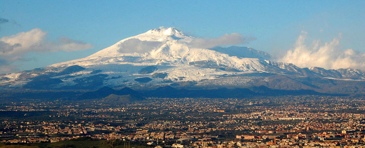 Mt. Etna on the Italian island of Sicily, supports two ski resorts and an active volcano.