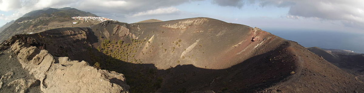 the San Antonio volcano with its classic caldera sits adjacent to the Cumbre Vieja on La Palma, the most geologically active island in the Canaries