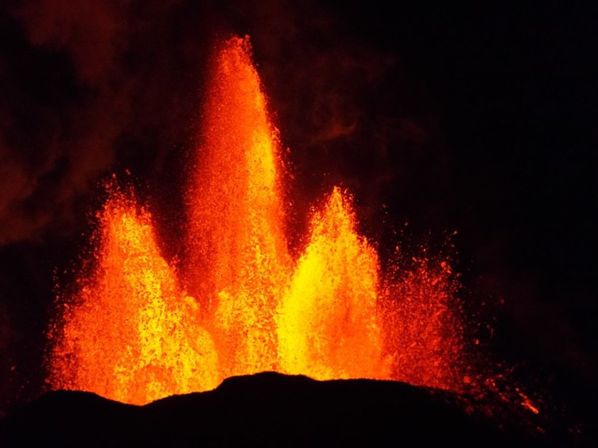 This live lava fountain on Iceland is non-lethal, as this Scandinavian isle is covered with numerous geothermal hot spots, along with a few potential monsters.
