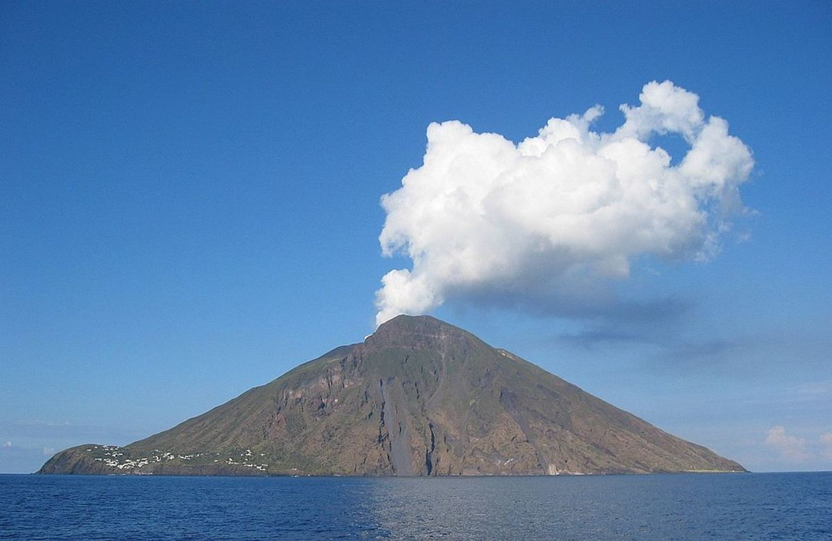 Stromboli Island is an active Italian volcano that occasionally erupts sending ash skyward. In 2019, one of these modest eruptions killed a hiker.