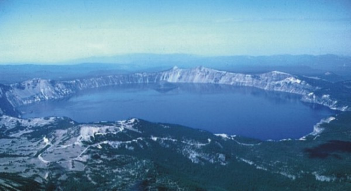 Crater Lake is also a small volcanic island within a much more ancient volcanic caldera that is no longer active