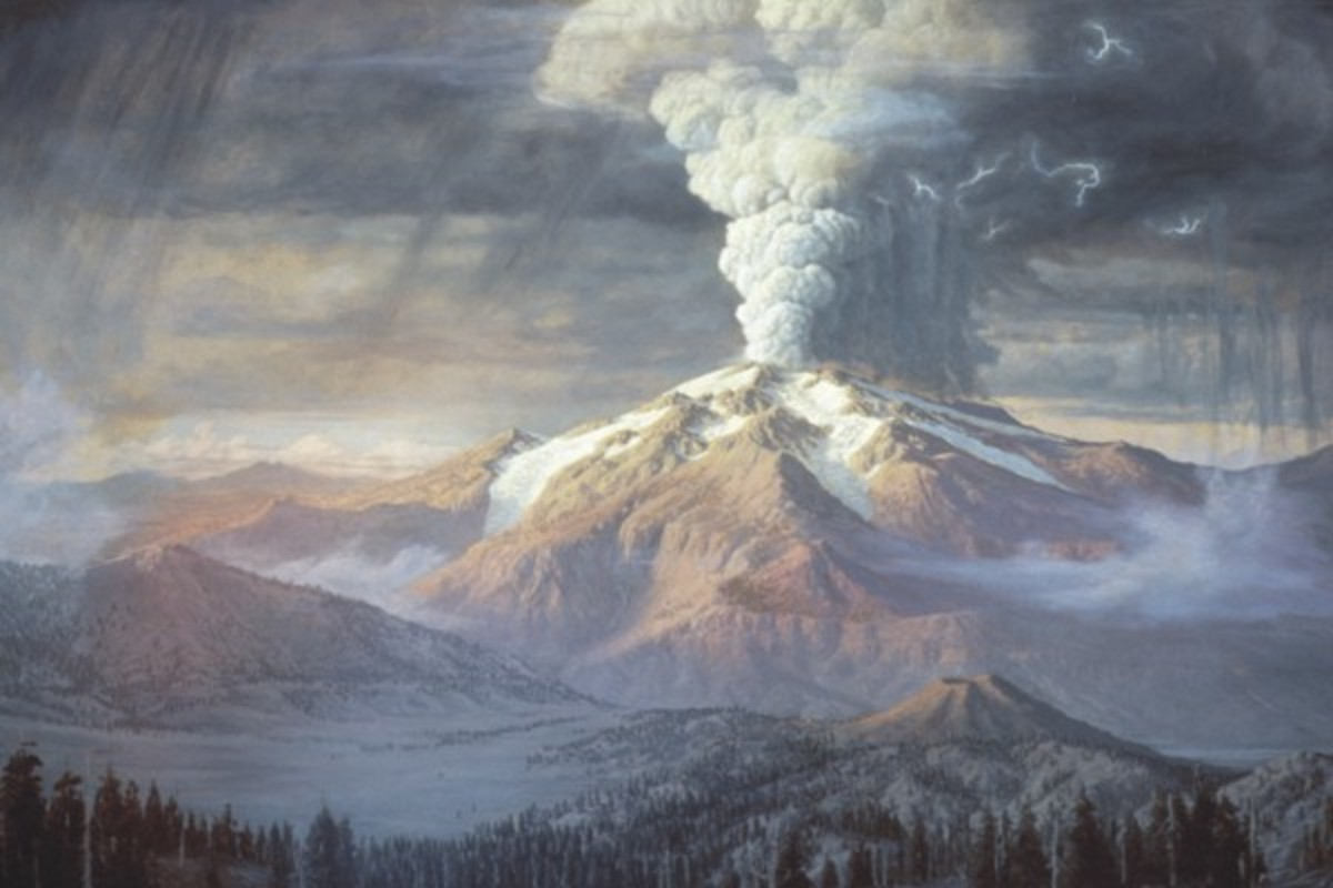 Artist depiction of Mount Mazama of Crater Lake erupting around 6,000 years ago. The biggest eruption, here occurred 10,000 years ago and has been rated as a level 7 eruption, just shy of being considered a supervolcano.