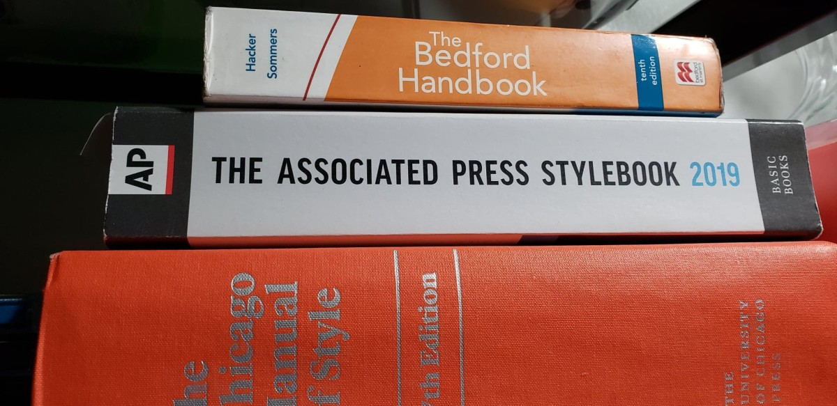 The Bedford Handbook I referenced, The Associated Press Stylebook, and The Chicago Manual of Style.