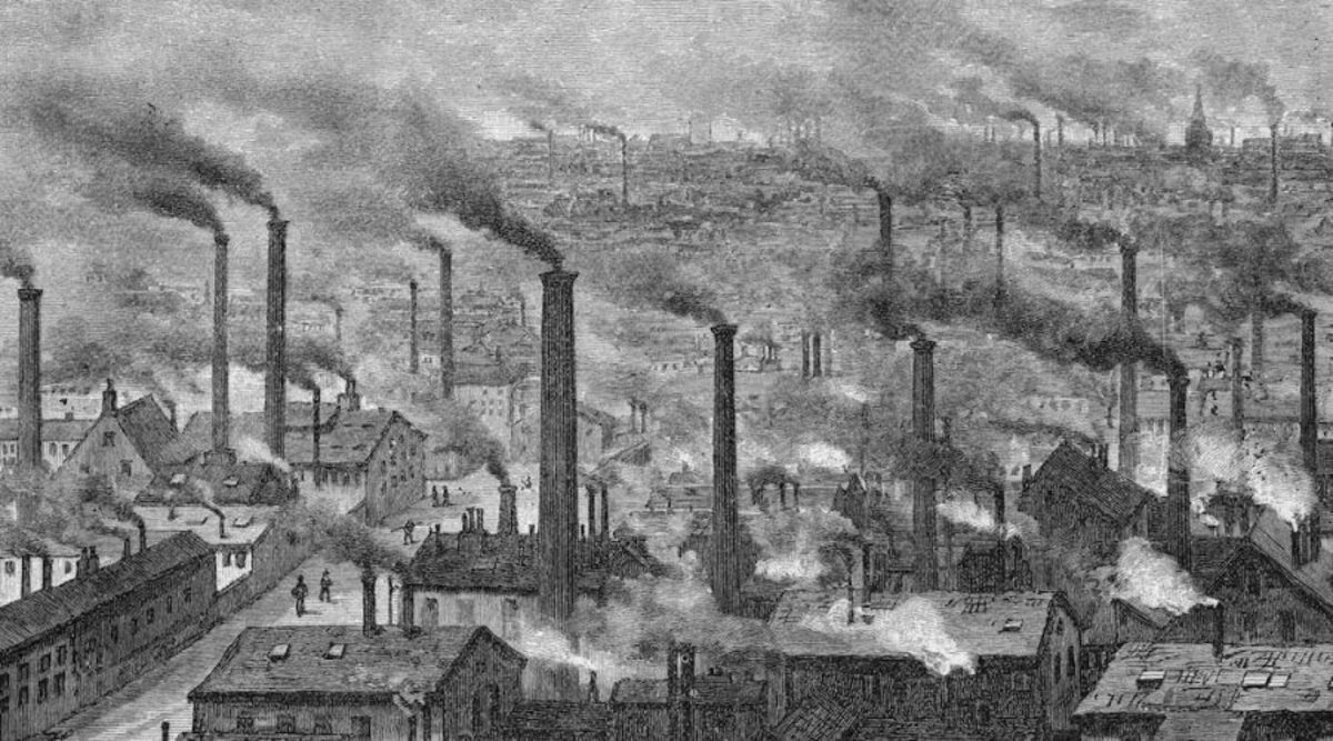 depiction of Manchester during the Industrial Revolution