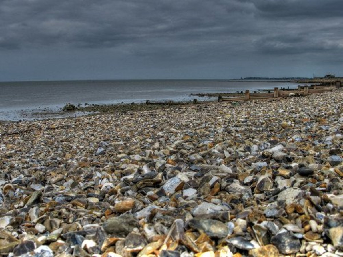 The shingle and mud of Seasalter under a suitably leaden sky.