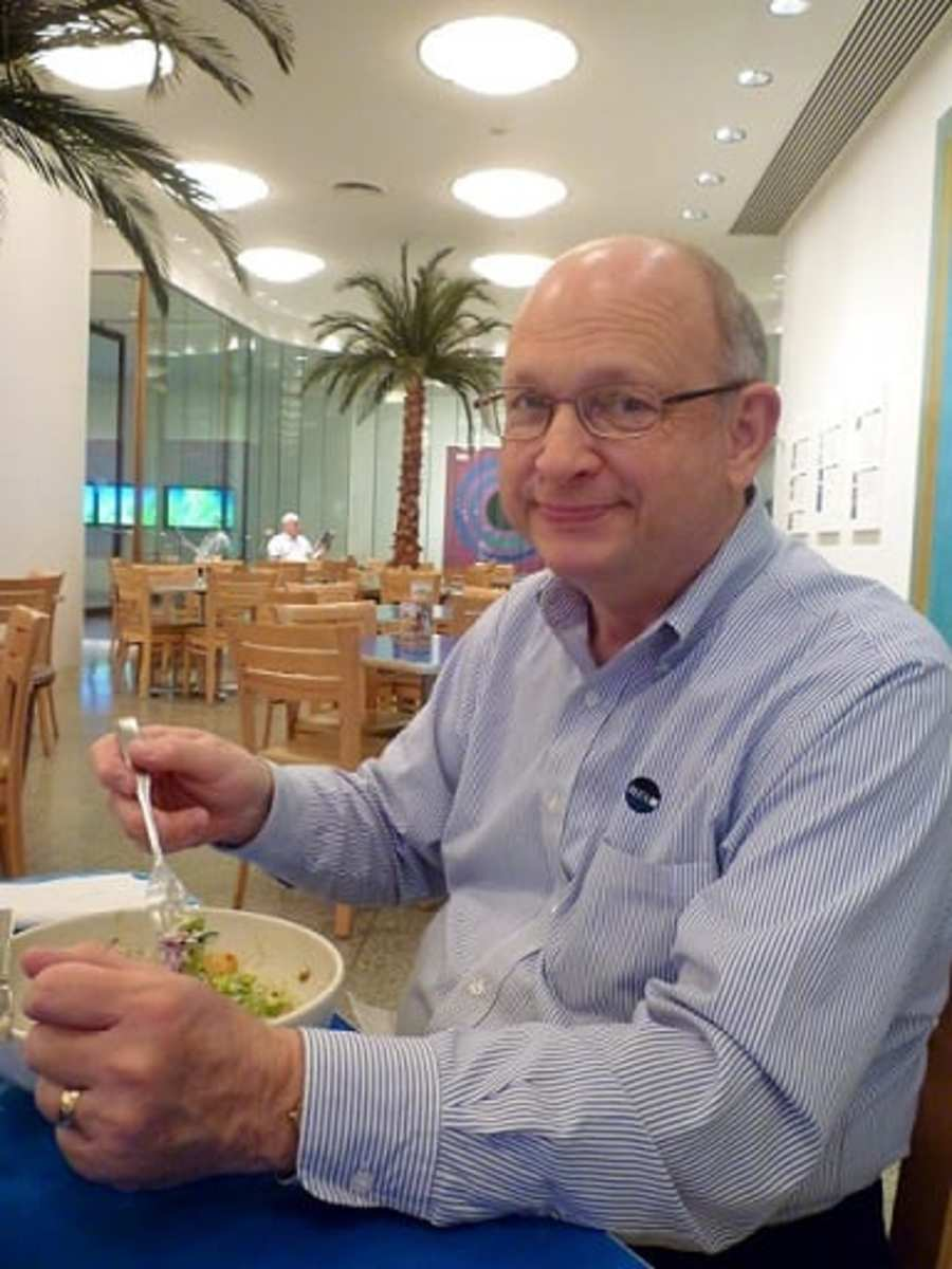 My handsome husband eating in the MFAH Cafe