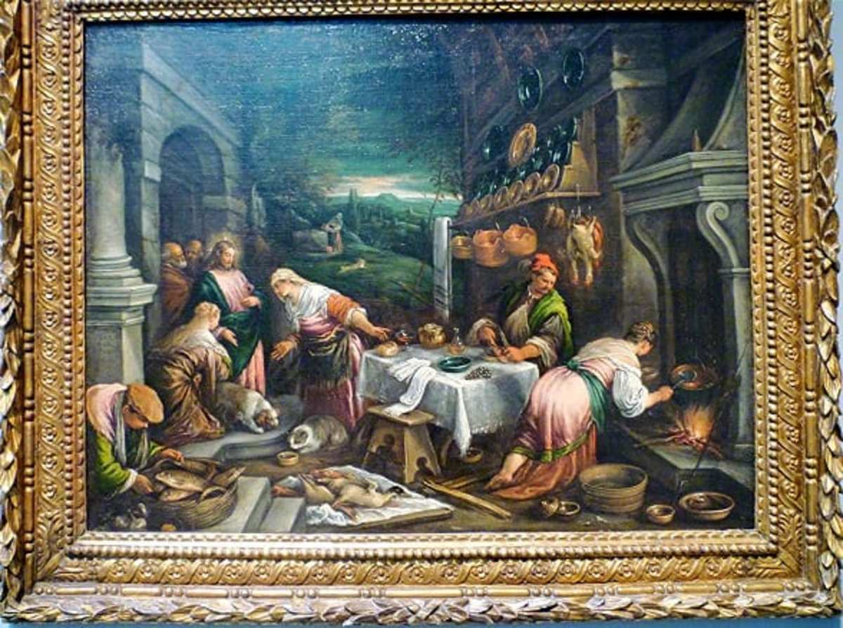 Christ in the House of Mary, Martha, and Lazarus by Jacopo and Francesco Bassano (da Ponte)