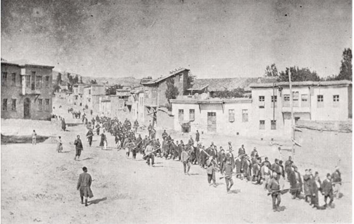This photo shows Armenians being marched to their deaths in the desert.